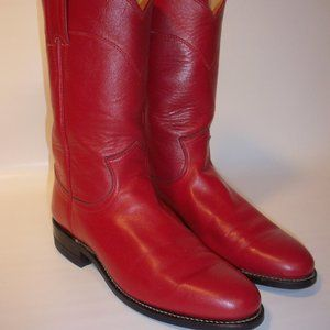 Justin Red Leather Western Cowboy/Roper Boots